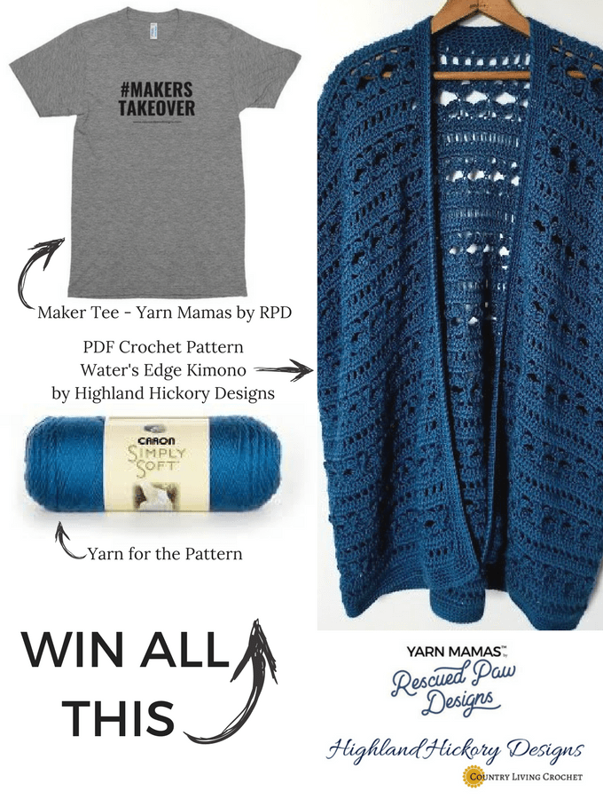 Makers Take Over Tee, Water's Edge Kimono Pattern & Caron Simply Soft Yarn