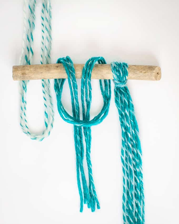 Attach Yarn to a wooden rod