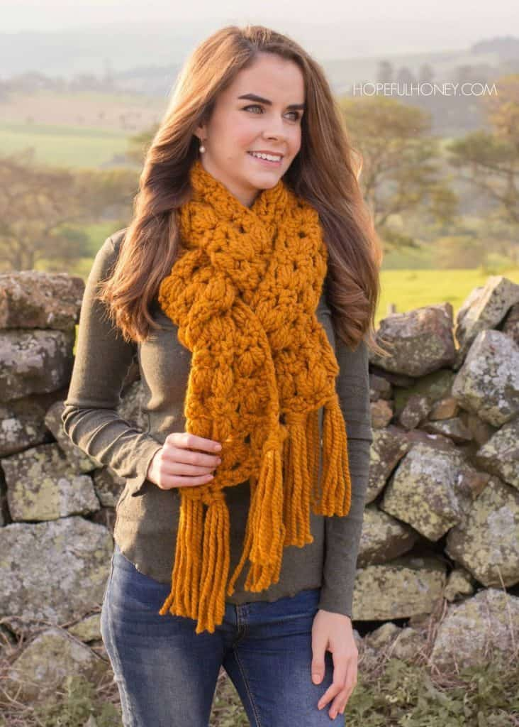 Hopeful Honey Butterscotch Tassel Scarf Pattern