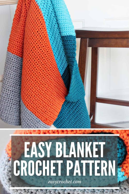 Easy Color blocked Crochet Blanket Pattern that is PERFECT for beginners! via @easycrochetcom