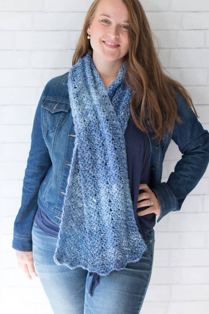 Oversized Crochet Chevron Scarf