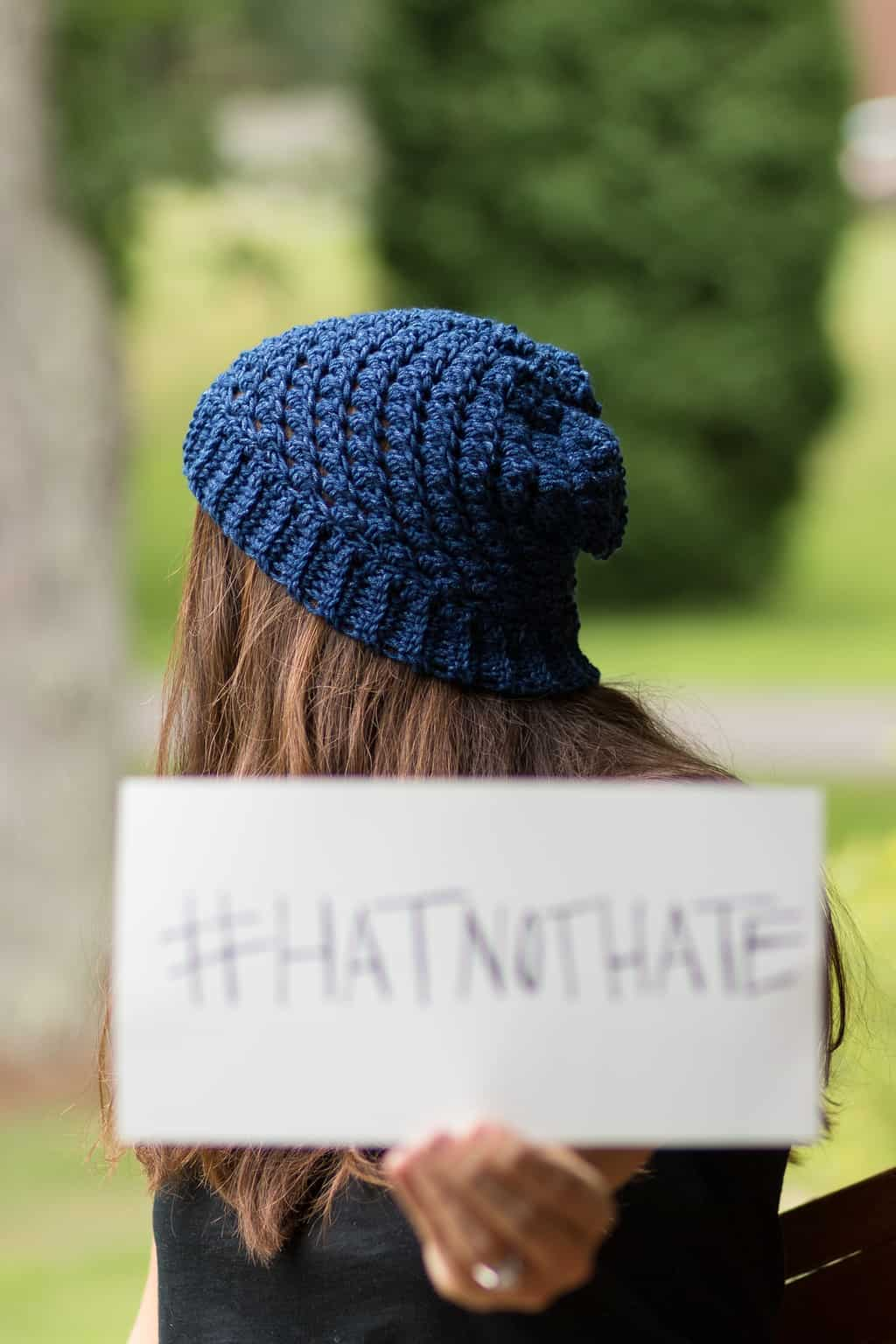 Blue Crochet Hat Pattern for the Hat not Hate Campaign