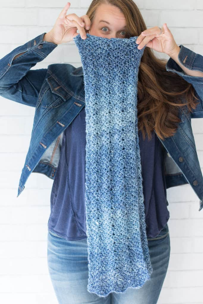 Blue Chevron Crochet Scarf