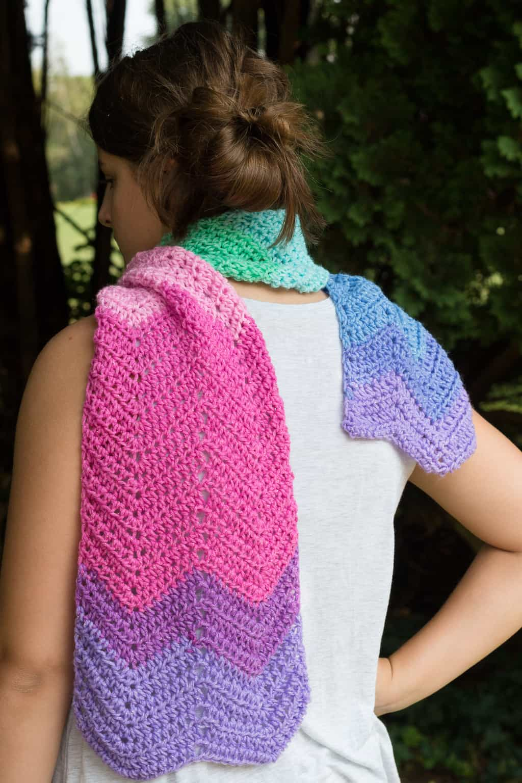 Back View of A Chevron Scarf