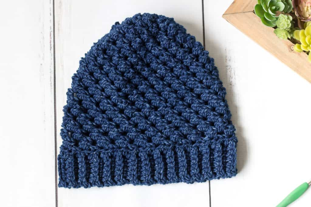Blue Crochet Hat #hatnothate for Lion Brand Yarn
