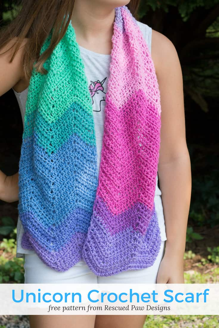 Unicorn Scarf Crochet Pattern by Rescued Paw Designs