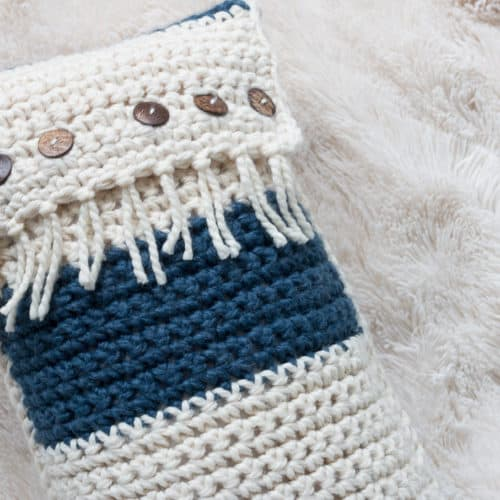 Zaffre Fringe Crochet Throw Pillow