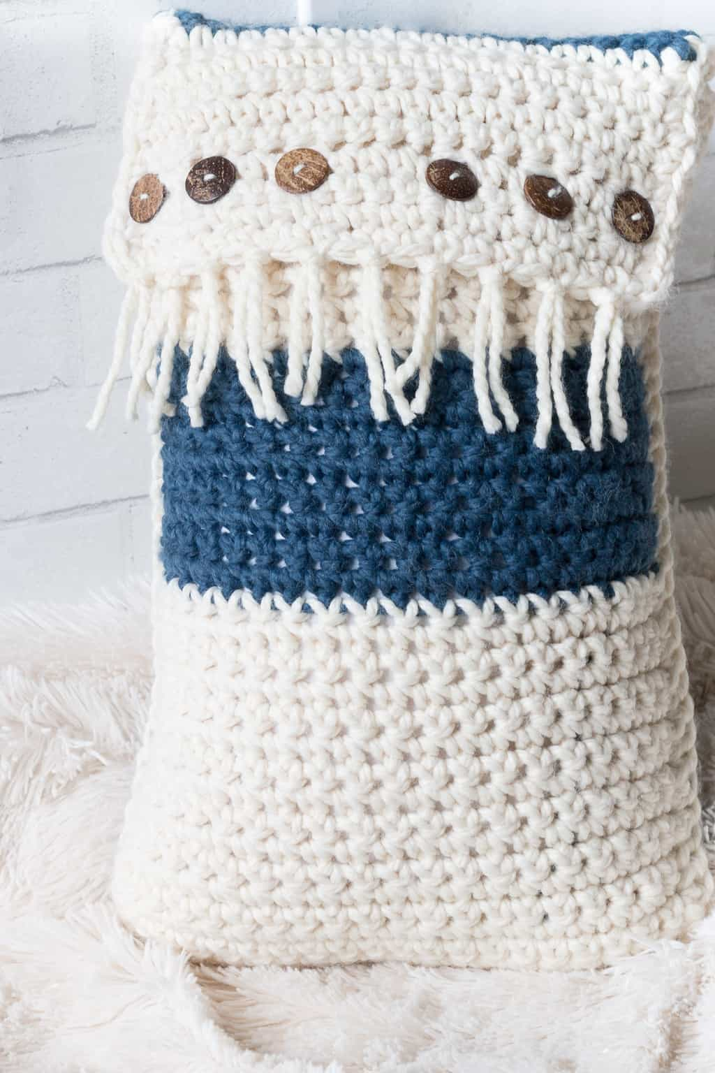Crochet Pillow with Fringe & Buttons