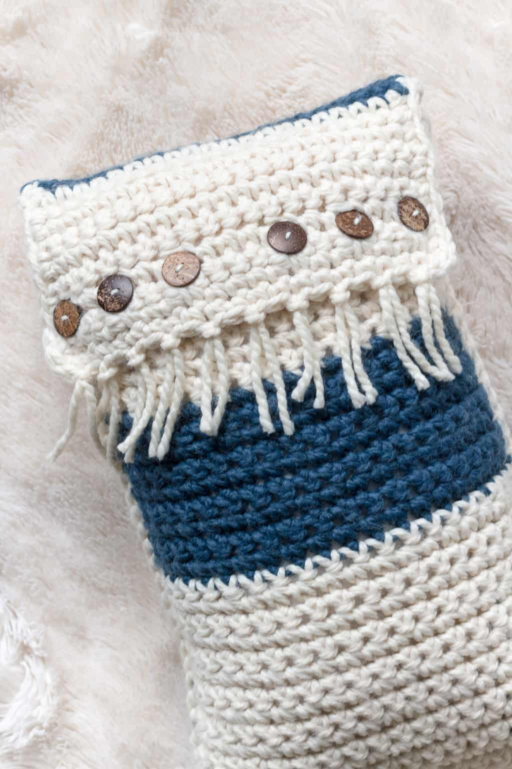 Coconut Button Crochet Pillow