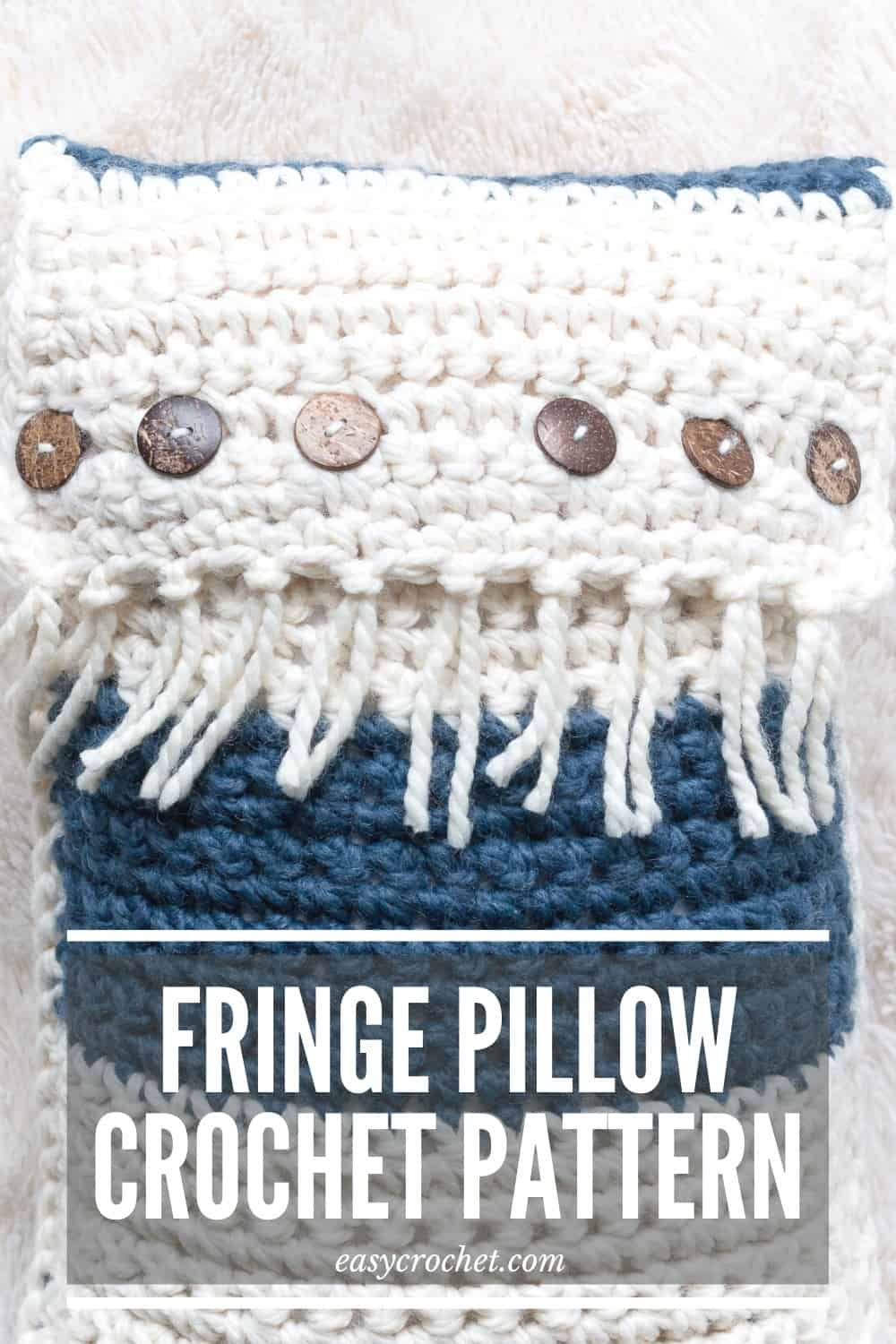 Zaffre Fringe Crochet Throw Pillow via @easycrochetcom