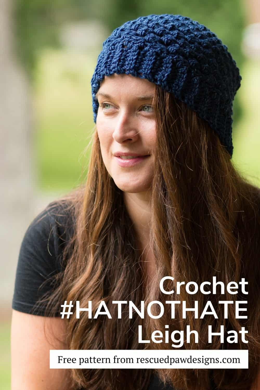 Blue crochet hat for the Lion Brand #hatnothate program via @rescuedpaw