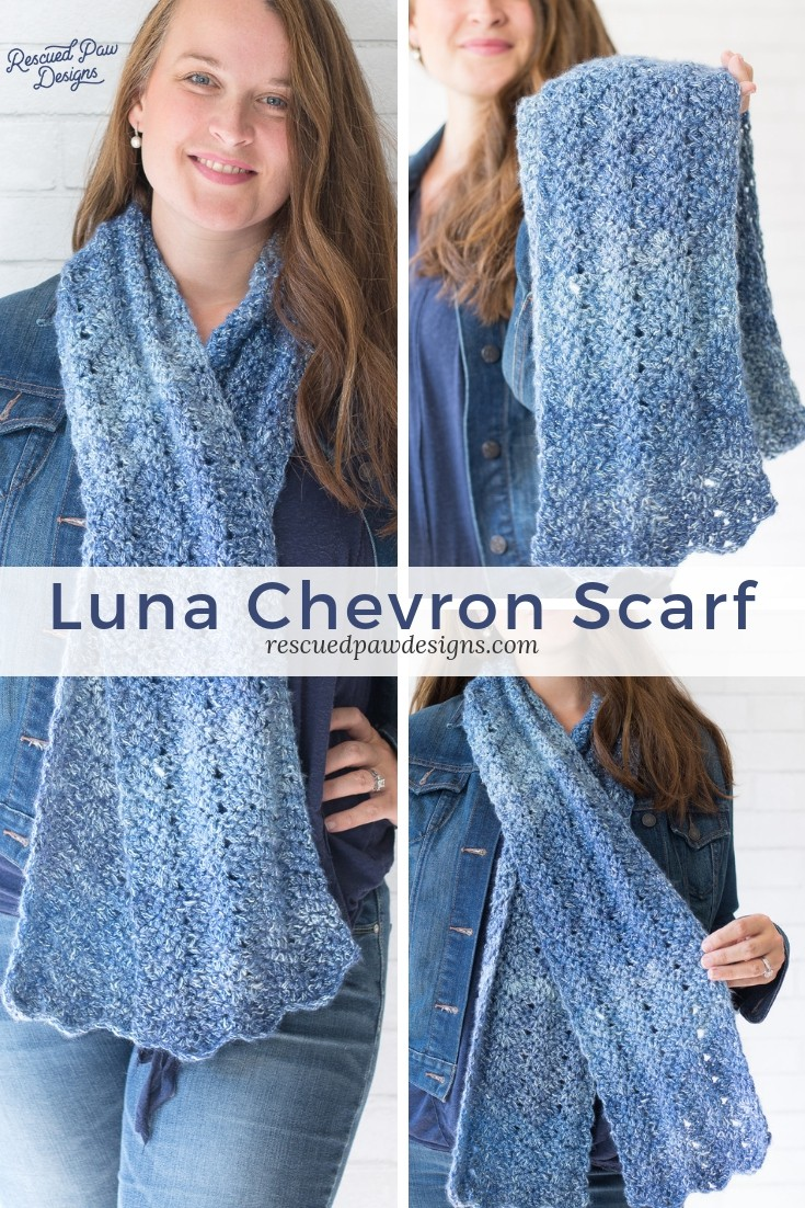 Chevron Scarf Crochet Pattern by Rescued Paw Designs. Make this simple beginner friendly chevron crochet pattern today! Free from Rescued Paw Designs rescuedpawdesigns.com