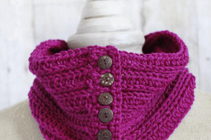 Pink Crochet Button Cowl Pattern