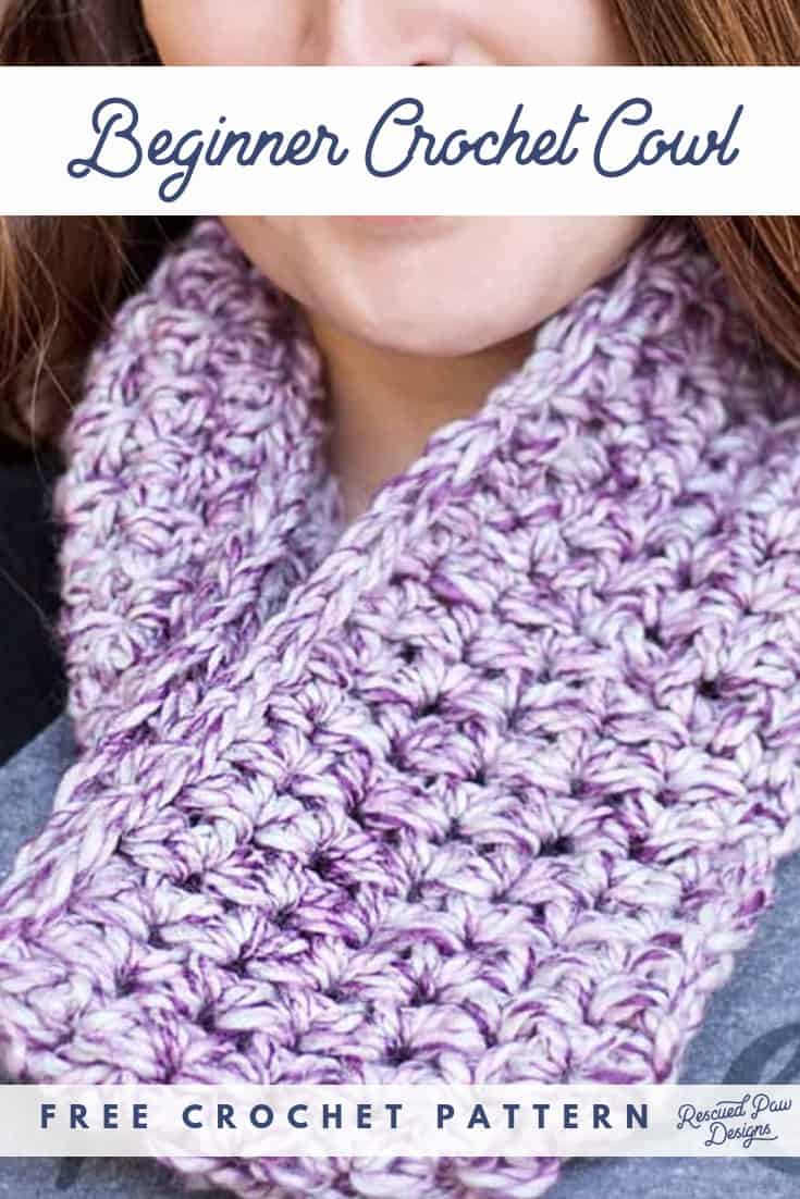 Free Beginner Crochet Cowl Pattern from Rescued Paw Designs. Make this simple crochet scarf / cowl pattern for beginner crocheters today! Pin to make later!