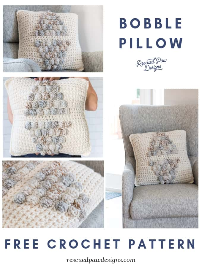 Bobble Pillow Crochet Pillow Pattern by Rescued Paw Designs