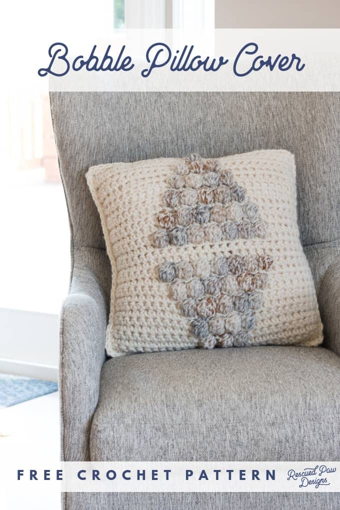 Bobble Stitch Crochet Pillow - Free Crochet Pattern by Rescued Paw Designs