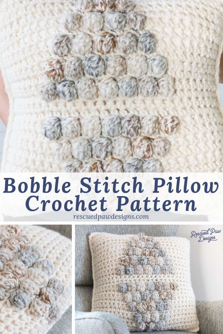 Make this simple Bobble Stitch Pillow Crochet Pattern today using this FREE crochet pillow pattern from Rescued Paw Designs rescuedpawdesigns.com via @rescuedpaw