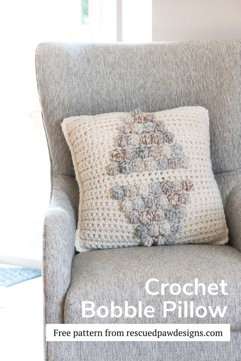 Free Crochet Bobble Pillow Pattern via @rescuedpaw
