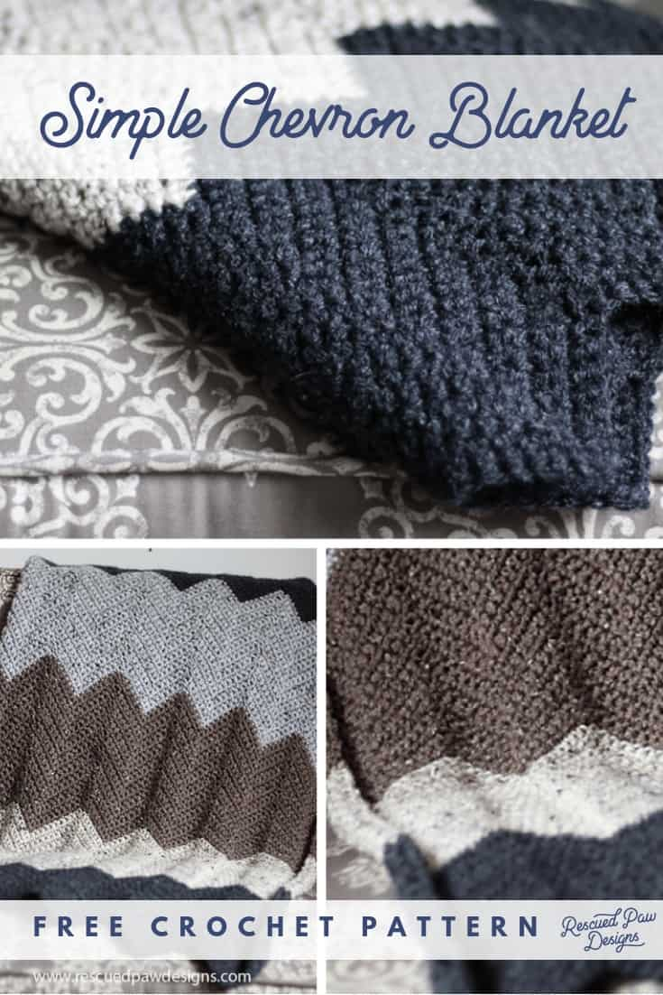 Free Chevron Crochet Blanket Pattern using Single Crochets. Find this free crochet chevron blanket pattern at rescuedpawdesigns.com