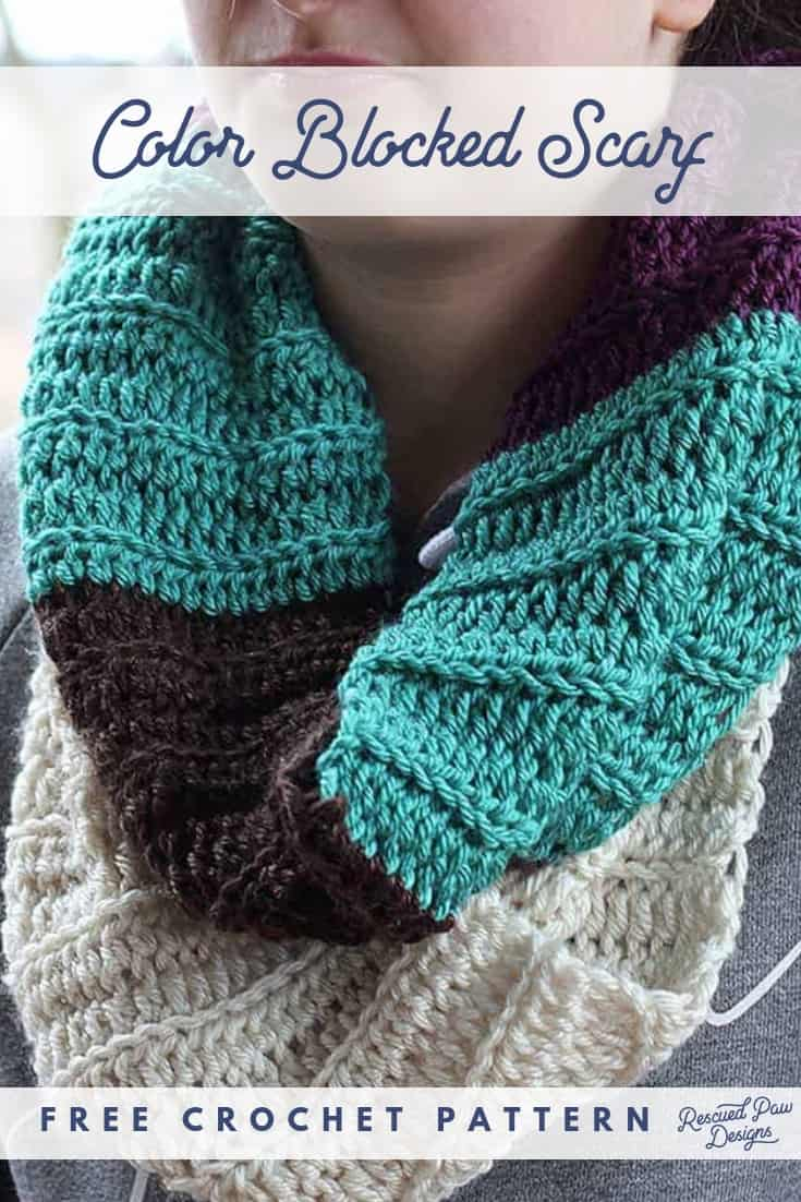 Color Blocked Infinity Scarf Free Crochet Pattern Crocheted Scarf