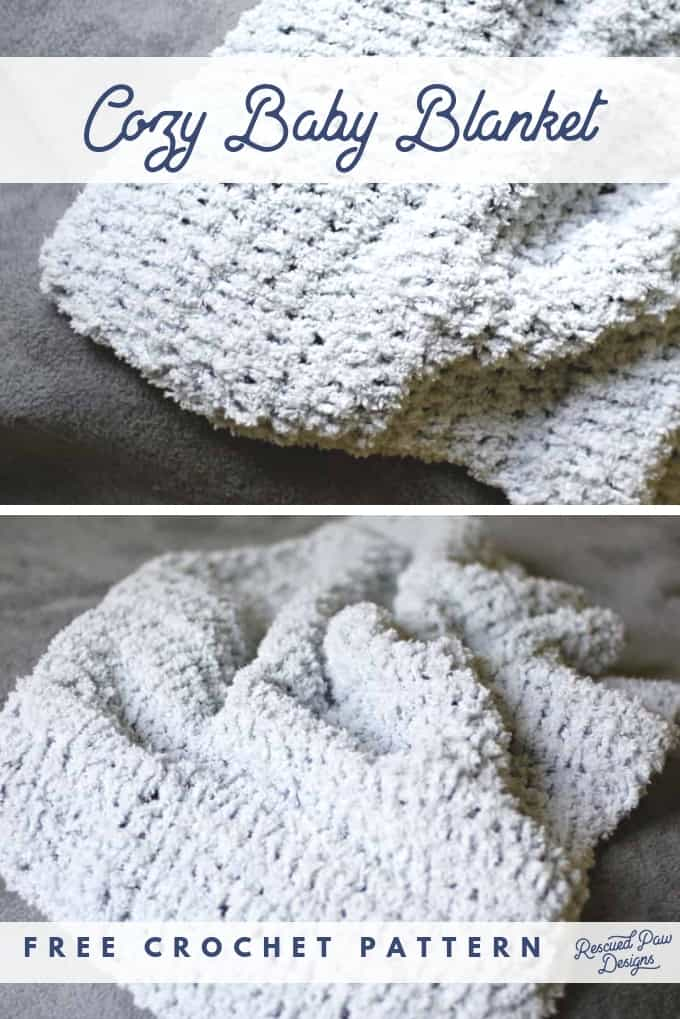 Cozy Baby Blanket Crochet Pattern for Beginners! Make this simple but cozy blanket today! Free pattern from Rescued Paw Designs.