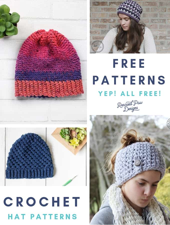 Free Crochet Hat Patterns from Rescued Paw Designs