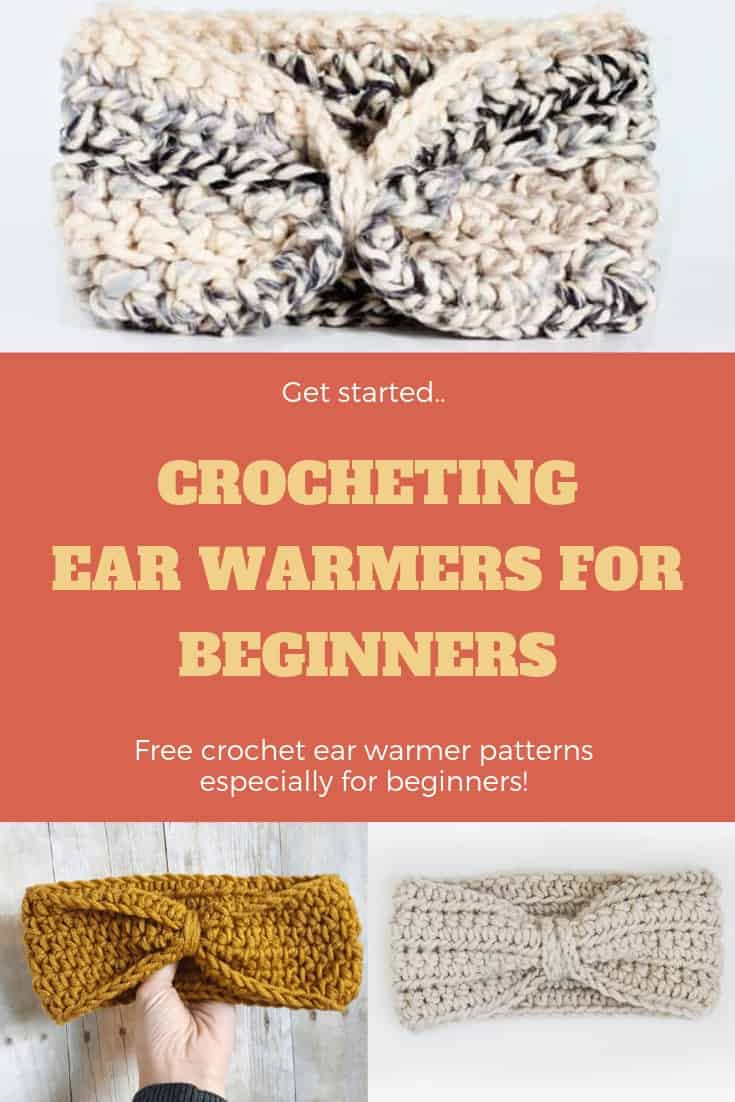 Crochet Ear Warmers that are PERFECT for beginners to try! Pin now to make later! #freecrochetpattern #crochetearwamer #beginnercrochetearwarmer. Find the pattern at easycrochet.com