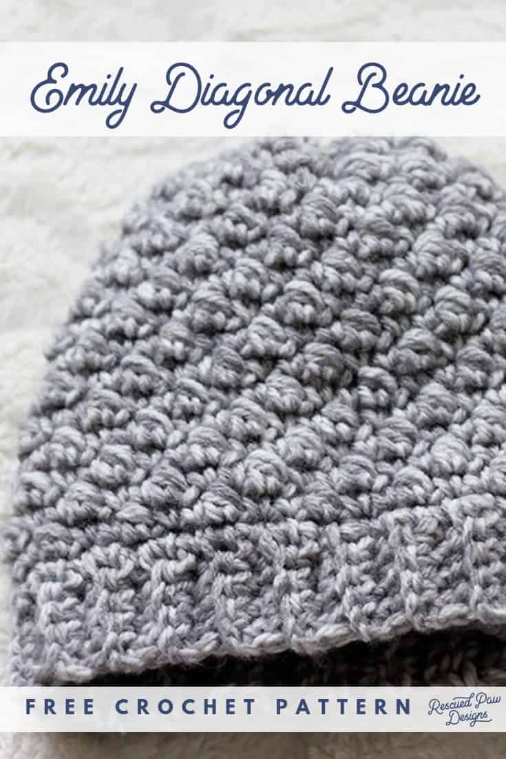 Emily Diagonal Crochet Beanie Pattern by Rescued Paw Designs - Free Crochet Pattern to make this Easy Hat! Find the pattern at rescuedpawdesigns.com Pin now to make later!