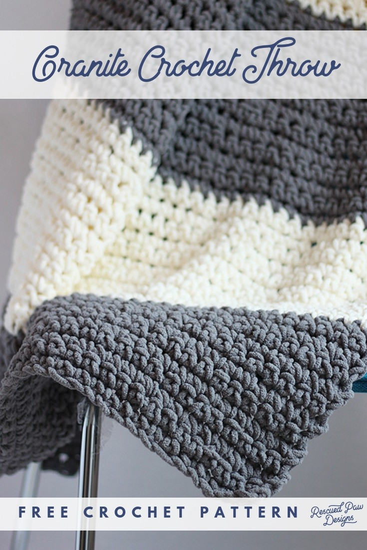 Granite Crochet Throw Blanket Pattern - Free Pattern from Rescued Paw Designs - Click to Make now or Pin to Save for Later!