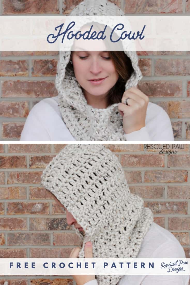 Hooded Scarf Crochet Pattern. Free Crochet Pattern from Rescued Paw Designs Click to Make now or PIN to save for Later!