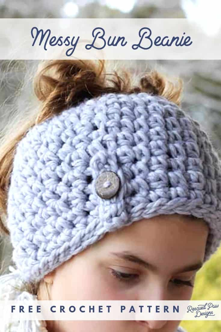 Quick Messy Bun Hat Pattern by Easy Crochet Click to make this One Hour Bun Beanie Today! Find the pattern at easycrochet.com Pin Now to Make later or Open to get started!