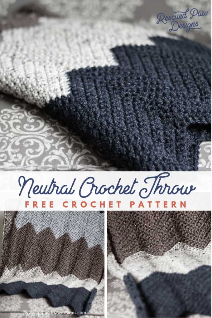 Neutral Crochet Throw Blanket Pattern - Free Crochet Pattern from Rescued Paw Designs #crochetthrow #crochetblanket #chevroncrochet #crochetchevron