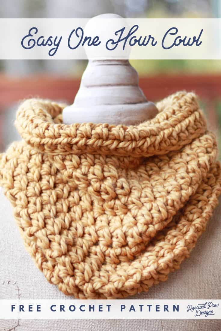 Easy One Hour Cowl by Rescued Paw Designs. Try this easy crochet cowl pattern that is perfect for beginner crocheters and it only takes 1 hour to make!