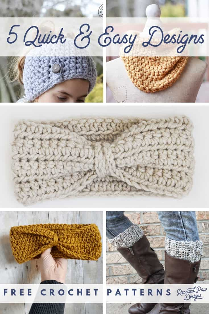 Try this FIVE quick & easy free crochet patterns today! From Headbands to Hats there is something for everyone! All crochet patterns take TWO hours or less! Find the patterns at easycrochet.com #quickandeasycrochetpatterns #freequickandeasycrochetpatterns via @easycrochetcom