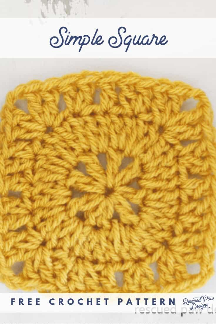 Simple but EASY crochet square pattern! Free Crochet pattern from Rescued Paw Designs. Click to make now or PIN to save for later! Rescuedpawdesigns.com via @rescuedpaw