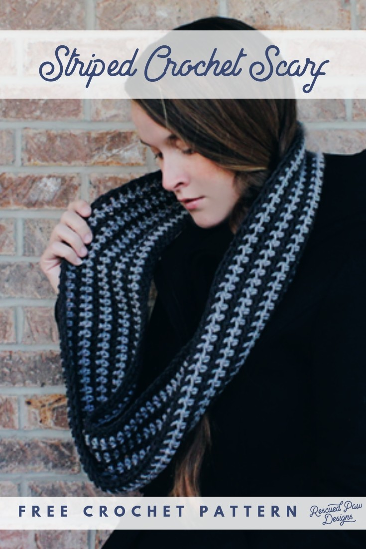 Make this Simple Striped Scarf Crochet Pattern today! Free Scarf Pattern is available from Rescued Paw Designs.