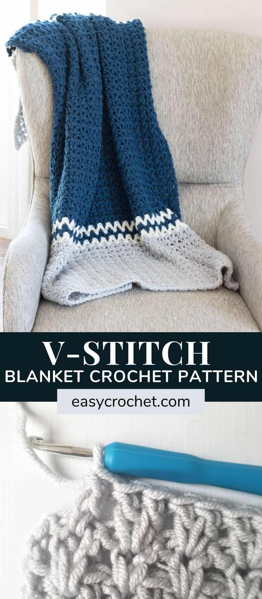 Free Crochet Blanket Pattern using the V-Stitch! This is an easy tutorial featuring the Double Crochet V Stitch! Since this is great for all skill levels even beginners can do it! Find the free pattern at easycrochet.com Pin to Make Later or Open now to start today! via @easycrochetcom