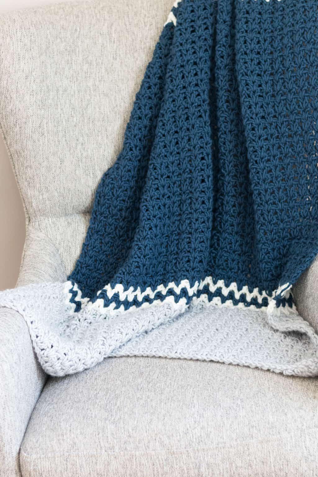 V Stitch Crochet Throw Blanket Pattern Free