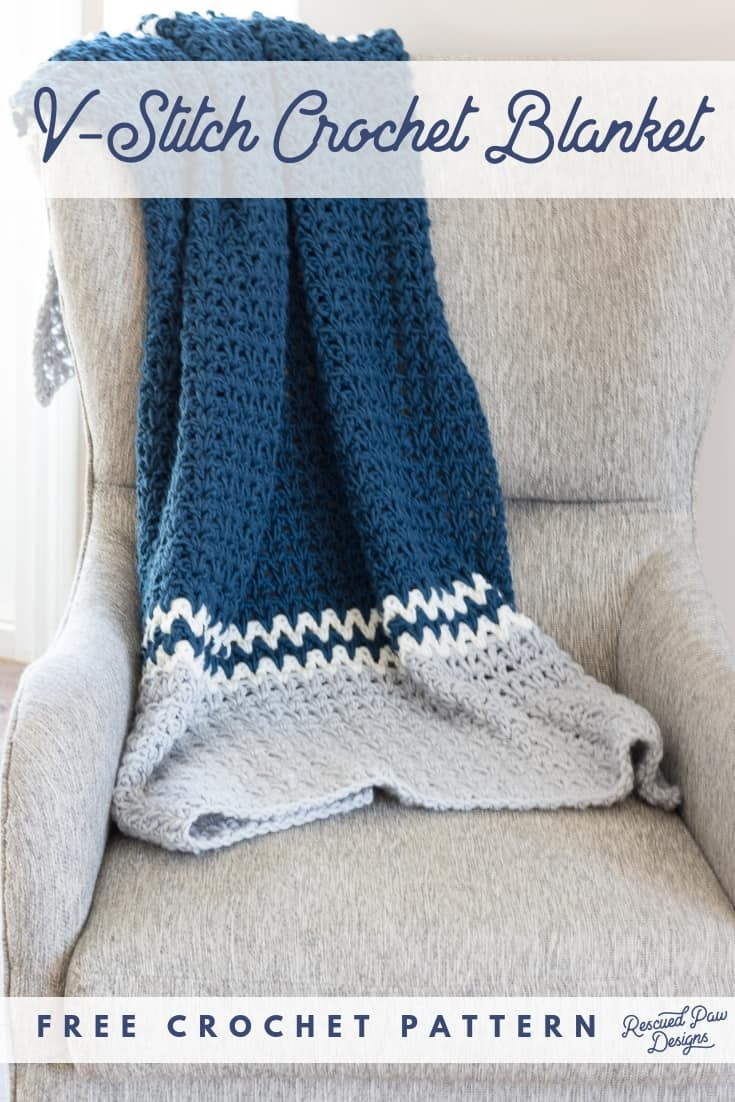 Easy V Stitch Crochet Blanket Pattern V Double Crochet Stitch Throw