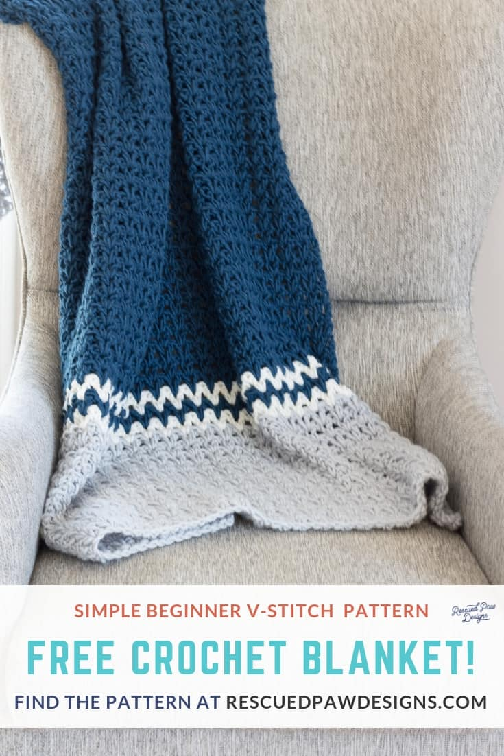 Free Crochet Blanket Pattern using the V-Stitch! This is an easy tutorial featuring the Double Crochet V Stitch! Since this is great for all skill levels even beginners can do it! Find the free pattern at rescuedpawdesigns.com Pin to Make Later or Open now to start today! via @rescuedpaw
