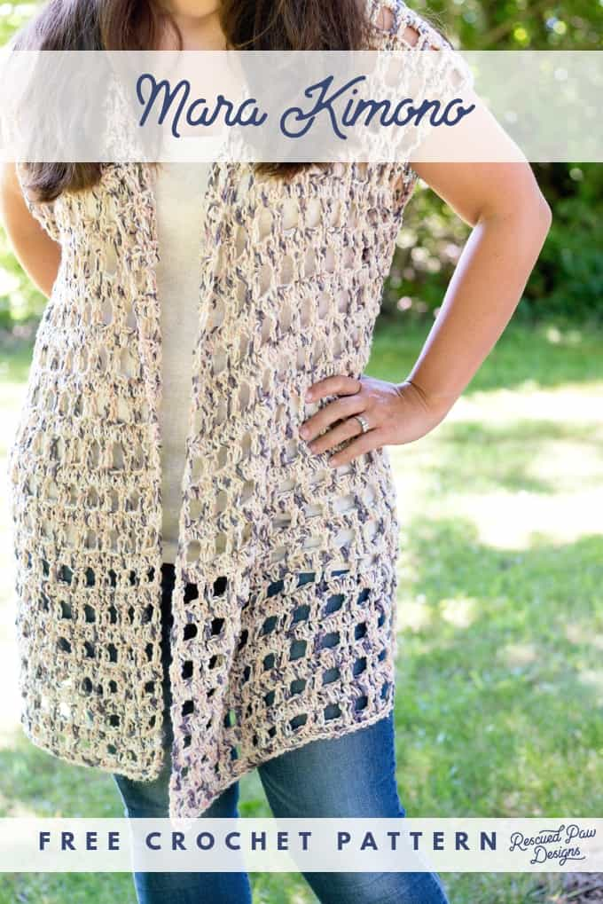 Easy Crochet Kimono Pattern by Rescued Paw Designs - Make this simple & FREE crocheted Pattern for a Kimono Today! rescuedpawdesigns.com