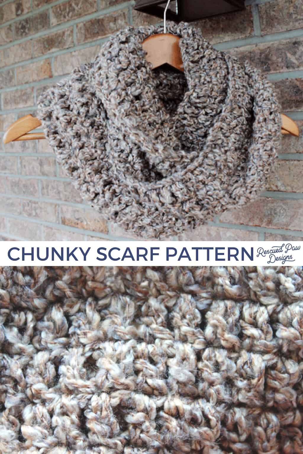 Free Chunky Scarf Pattern from Rescued Paw Designs. Click to make this EASY scarf now or PIN to save for later! via @rescuedpaw