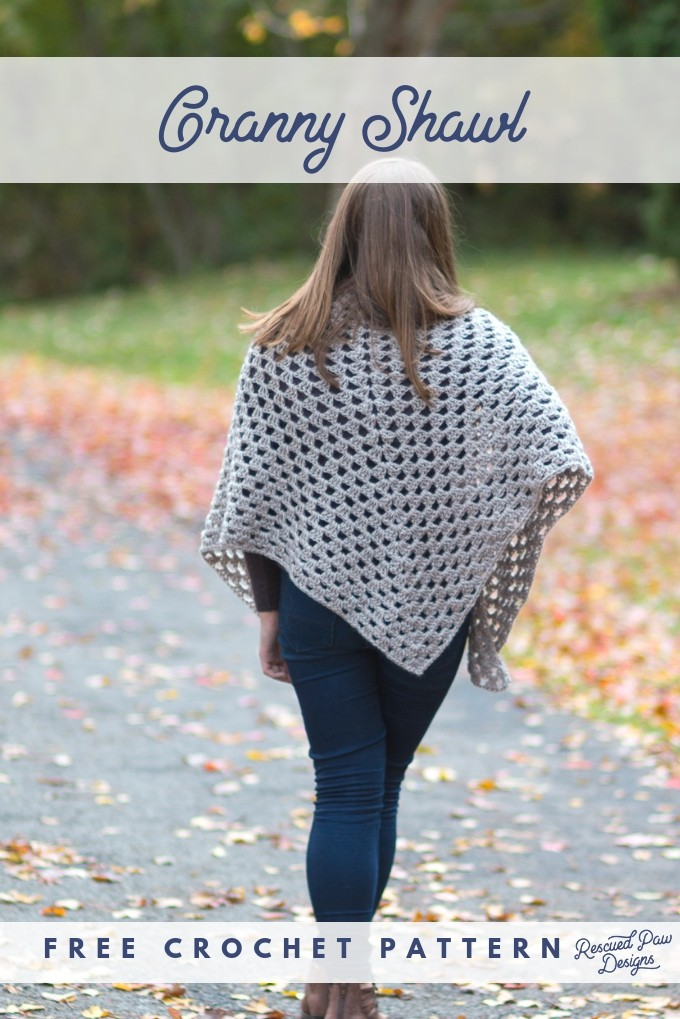Free Crochet Granny Shawl Pattern Rescued Paw Designs Crochet