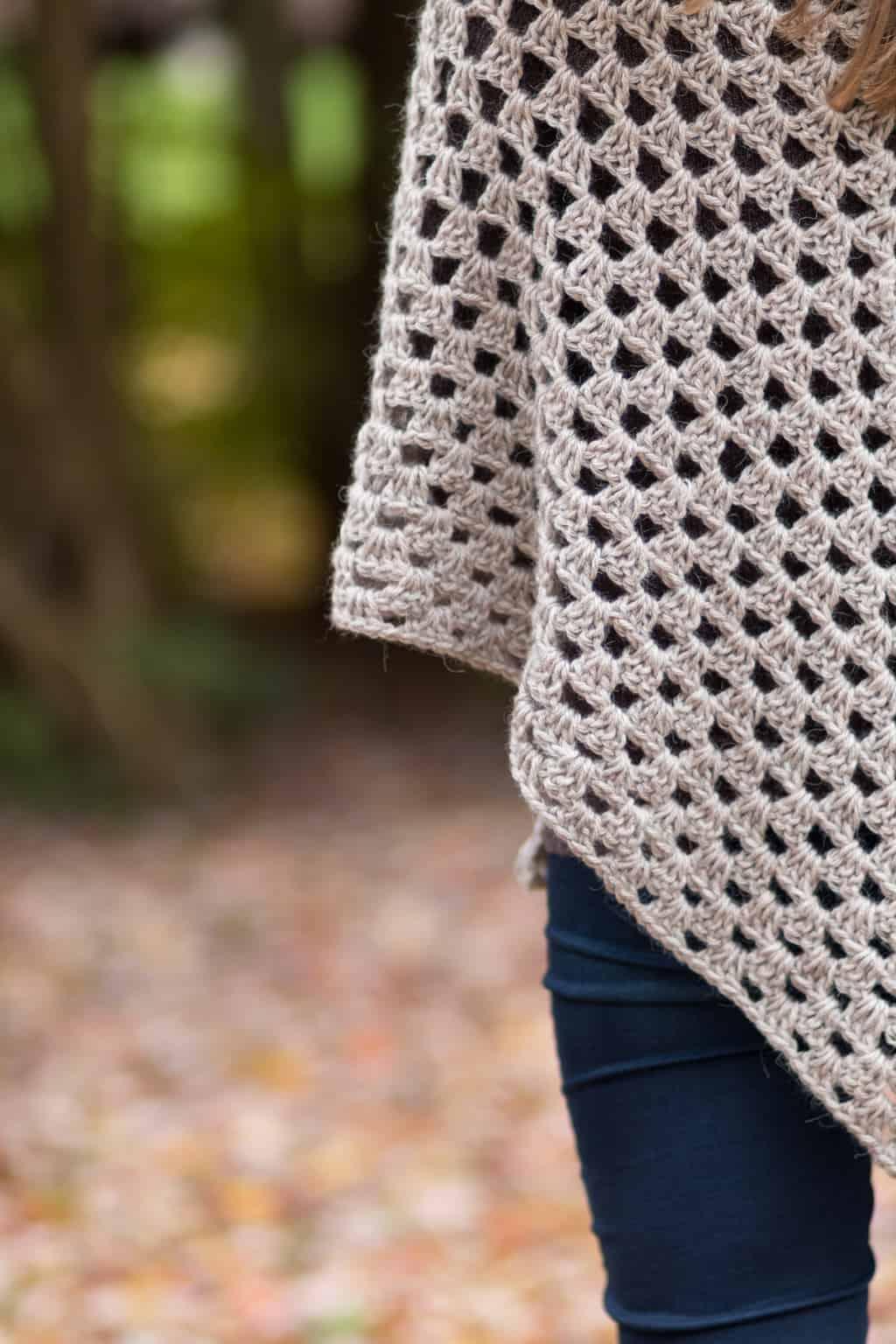 Stitch Detail of a Granny Crochet Shawl Pattern