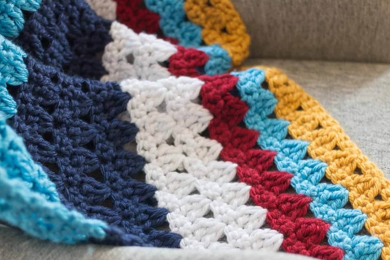 Crochet Throw Blanket Pattern in Bright Colors