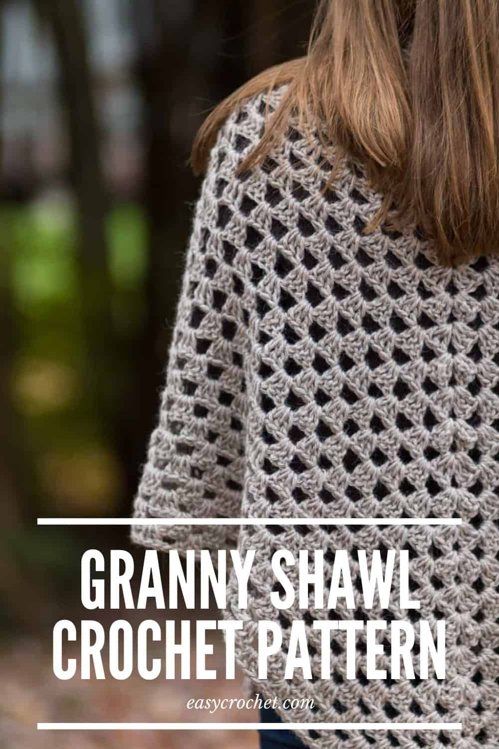Free Crochet Granny Shawl Crochet Pattern by easycrochet.com Learn how to make this simple shawl with a video and written pattern. via @easycrochetcom