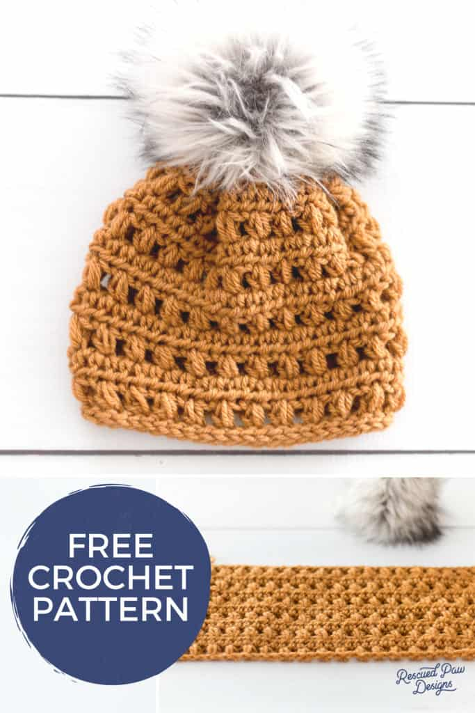 Crochet Hat With Fur Pom Pom - Free Pattern - Rescued Paw Designs