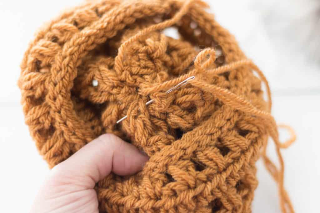 Inside of a Crochet Hat when Closing