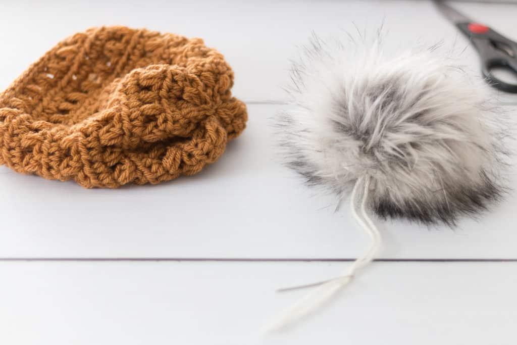 Faux Fur Pom Pom for a crochet Hat