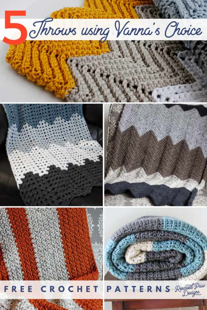 5 Blanket Crochet Patterns Using Vannas Choice Yarn Rescued Paw